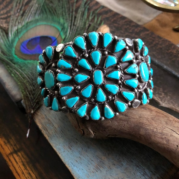 Vintage 40's handmade Navajo sterling turquoise cuff