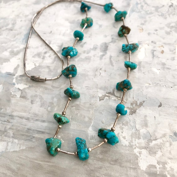 Vintage navajo liquid silver and turquoise nugget necklace