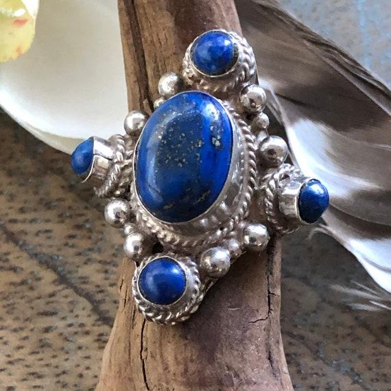 Vintage lapis lazuli sterling tribal ring size 8.5