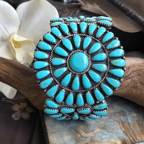 Vintage Navajo cluster cuff sterling turquoise small wrist