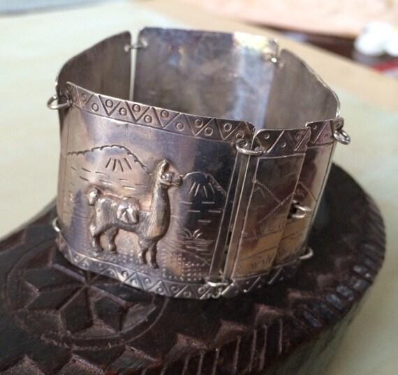 Sterling silver panel bracelet from Peru