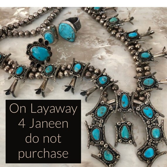 LAYAWAY 4JANEEN Spectacular vintage Navajo sterling and turquoise squash blossom necklace
