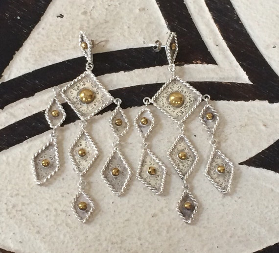 Lovely vintage Taxco sterling and brass chandelier earrings
