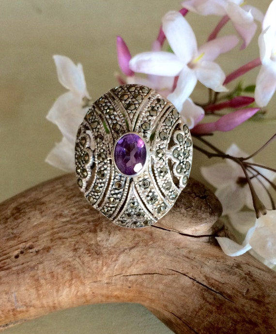 Art Deco Marcasite and amethyst statement ring size 7.5