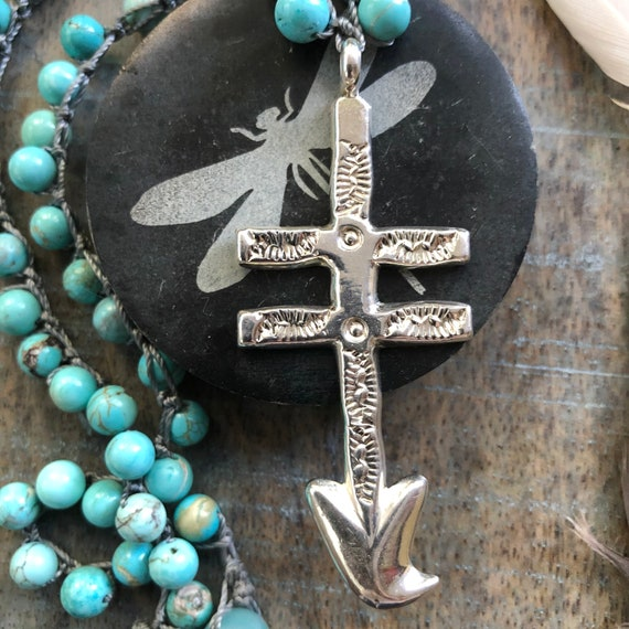 Dragonfly isleta cross beaded necklace