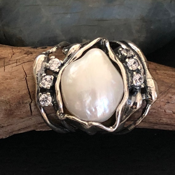 Sterling Cz and large freshwater pearl size 7