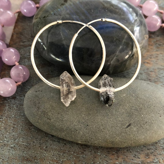Sterling and herkimer diamond crystal hoop earrings