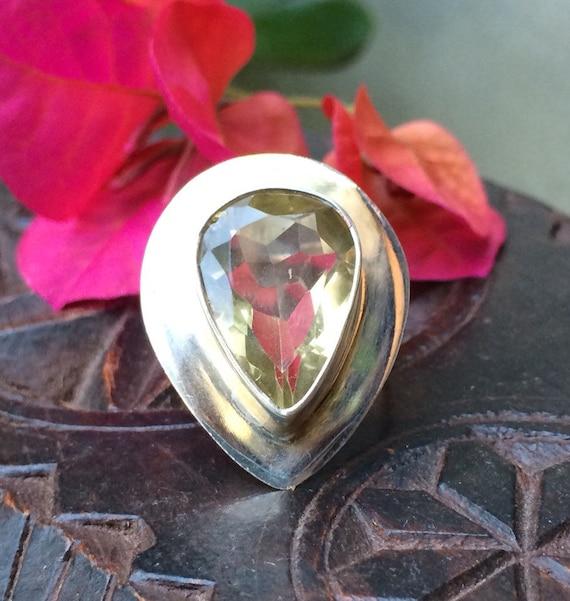 Fantastic sterling and lemon quartz modernist teardrop ring size 7.5