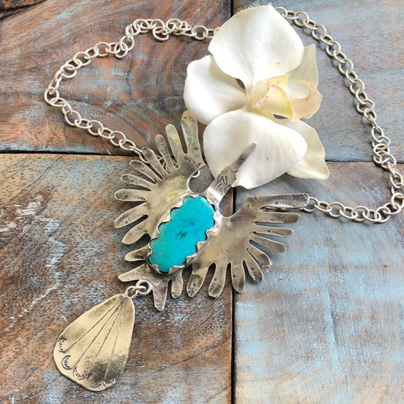 Large vintage handmade sterling turquoise peyote/thunderbird necklace