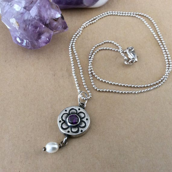Sterling amethyst and fresh water pearl charm necklace