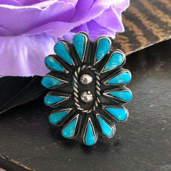 Vintage Zuni cluster ring turquoise sterling size 7