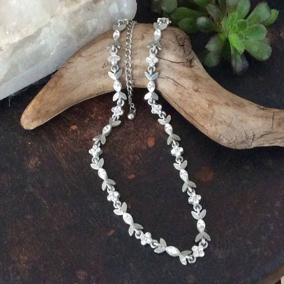 Silver plated metal and crystal choker