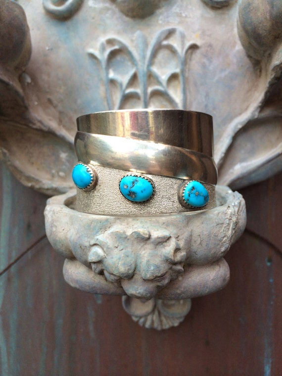 Native American turquoise and sterling cuff