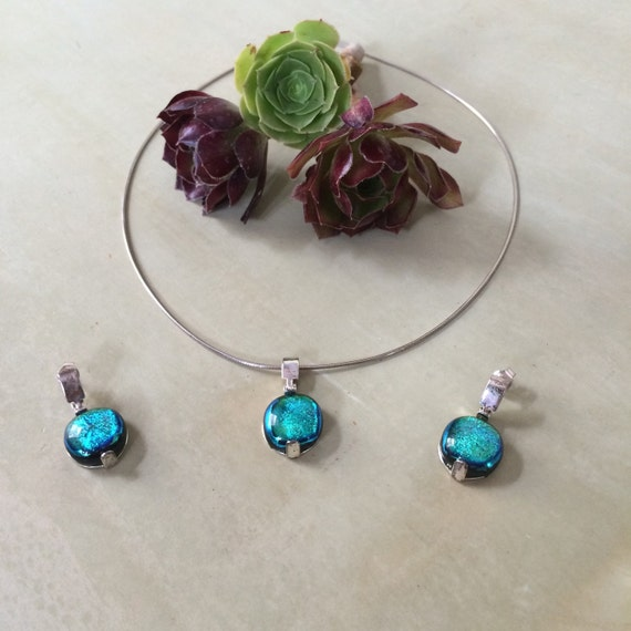 Stunning sterling and Dichroic art glass pendant and earring set