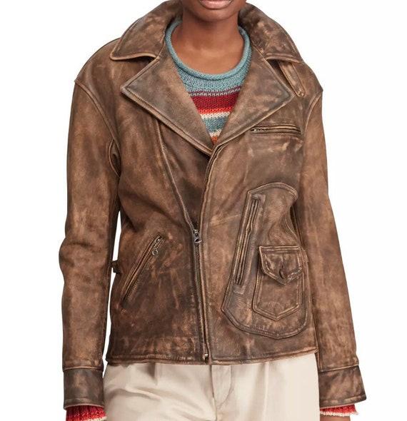 Distressed Ralph Lauren leather jkt S