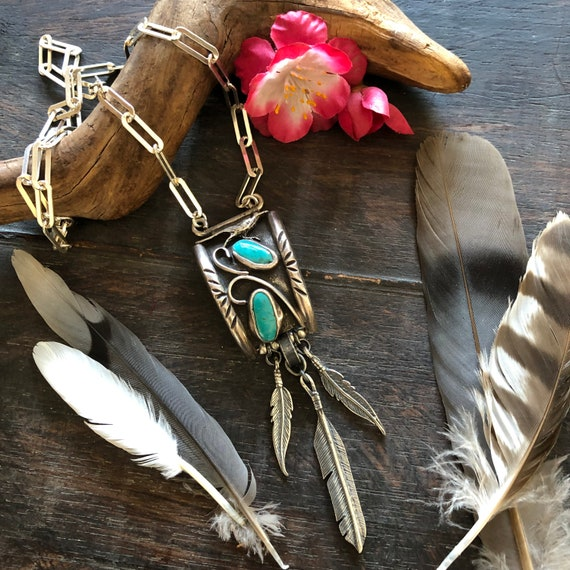 Sterling Royston turquoise and feather necklace
