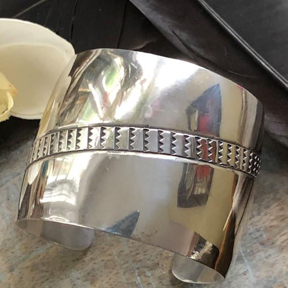 Vintage sterling wide cuff bracelet modern tribal