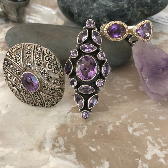 Beautiful amethyst and sterling knuckle ring size 7