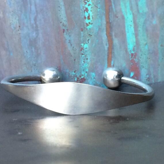 Sterling ball I.D  cuff bracelet