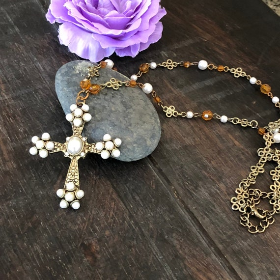 Vintage faux pearl crystal and brass cross rosary style necklace