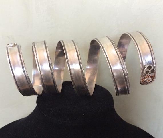 Rare tribal fine silver coil bracelet / armlet
