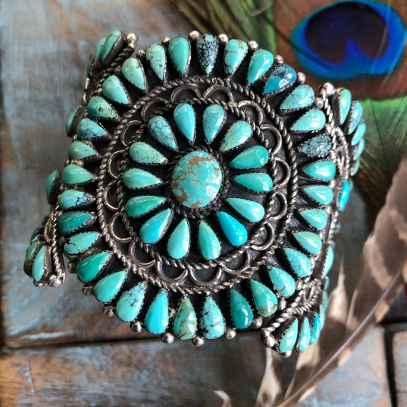 Gorgeous Navajo Turquoise and sterling petit point cluster cuff