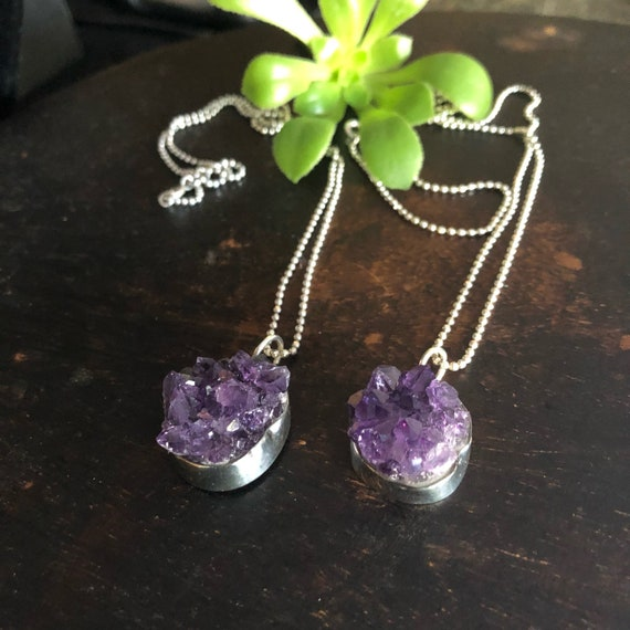 Sterling and amethyst druzy pendant necklace
