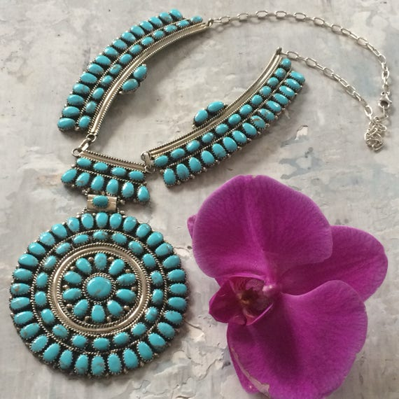 Navajo turquoise and sterling cluster Petit point bib statement necklace
