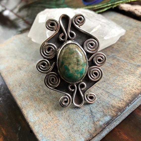 Gorgeous vintage Mexican statement ring sterling and Cerrillos turquoise size 7.5