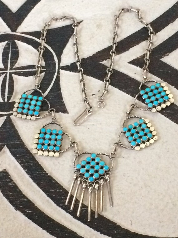 Vintage Zuni snake eye sterling and turquoise bib  necklace