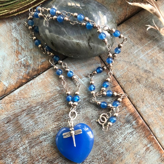 "Handmade sterling blue chalcedony ""heart of a dragonfly""  necklace"