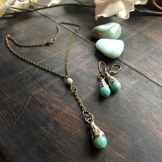 Handmade brass and  amazonite necklace earrings set