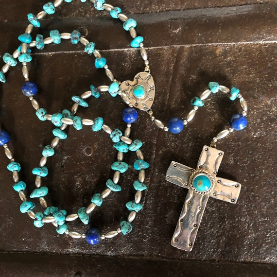 Handmade Navajo Sterling Turquoise and lapis rosary