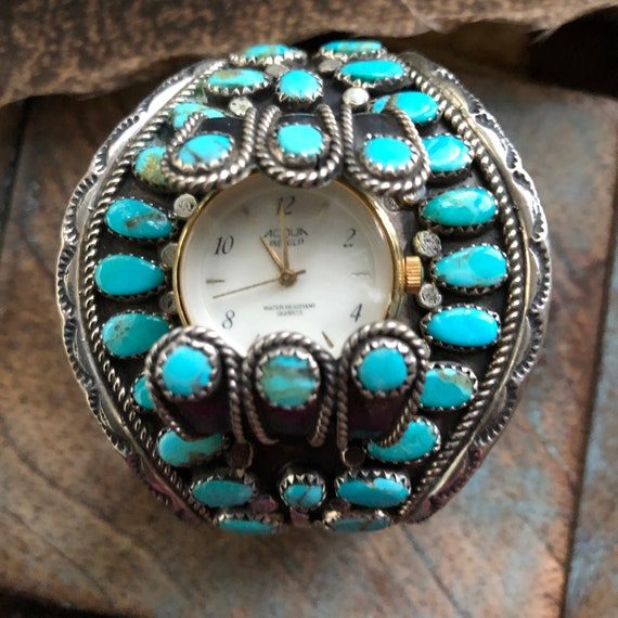 Vintage sterling turquoise Navajo petit point cluster watch cuff