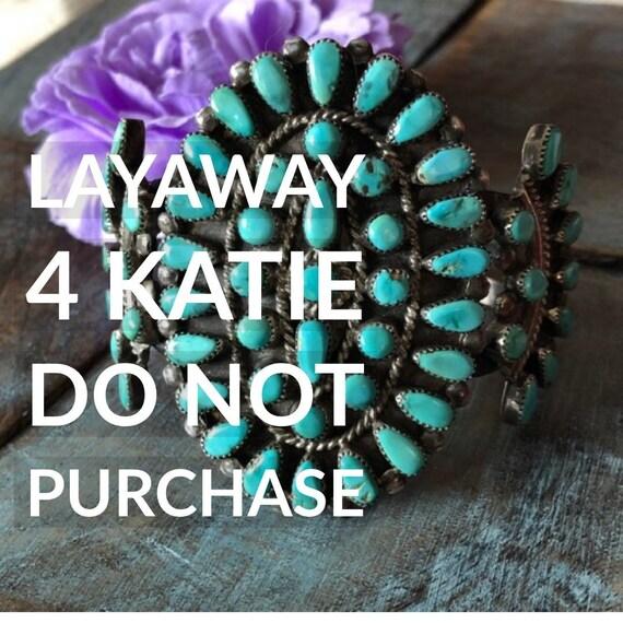 LAYAWAY 4 KATIE Vintage Zuni snake eye turquoise cluster cuff