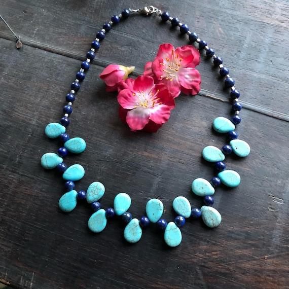 Handmade turquoise howlite and lapis choker