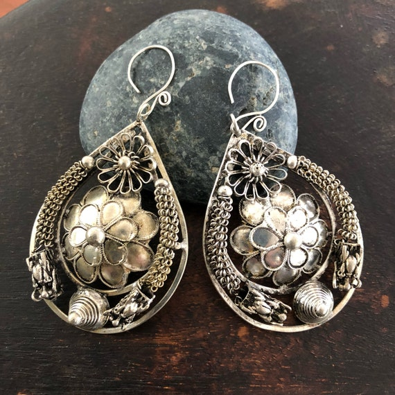 Vintage Miao silver Dragon and flower earrings  large