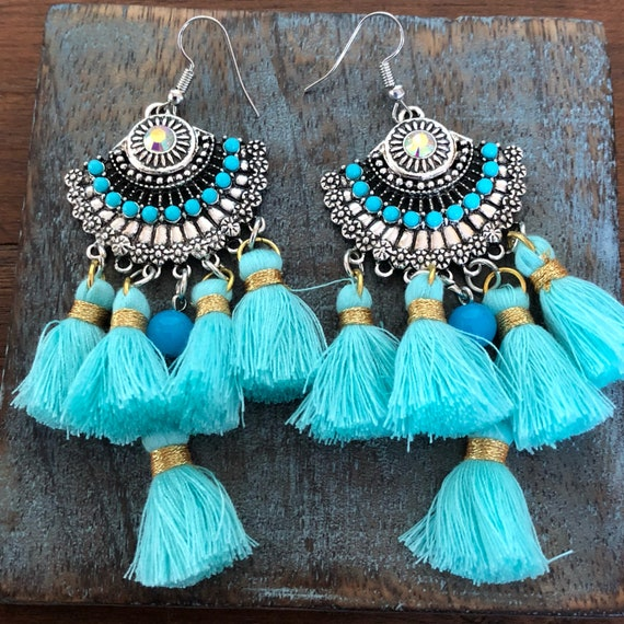 Turquoise blue tassel chandelier earrings