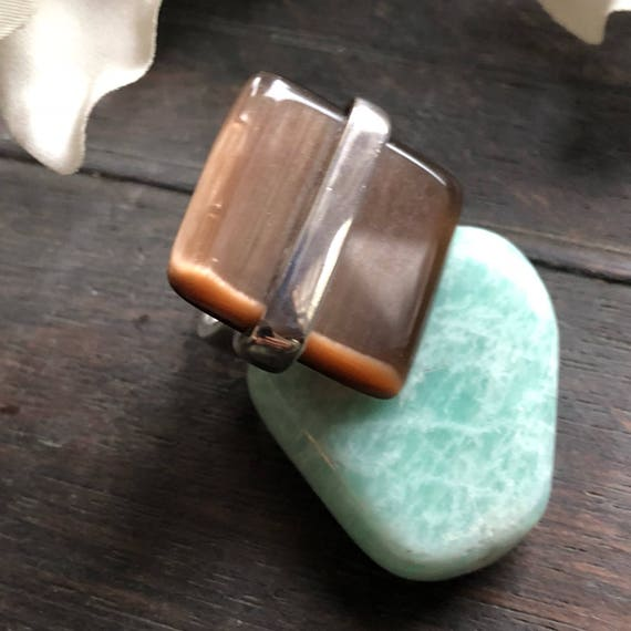 Vintage art glass modernist statement ring size 6.5