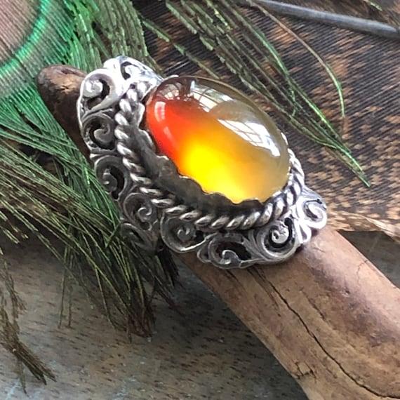 Beautiful handmade sterling and carnelian Saddle ring size 7