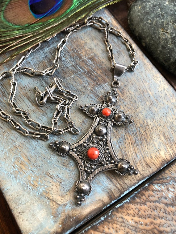 Vintage sterling and coral tribal necklace