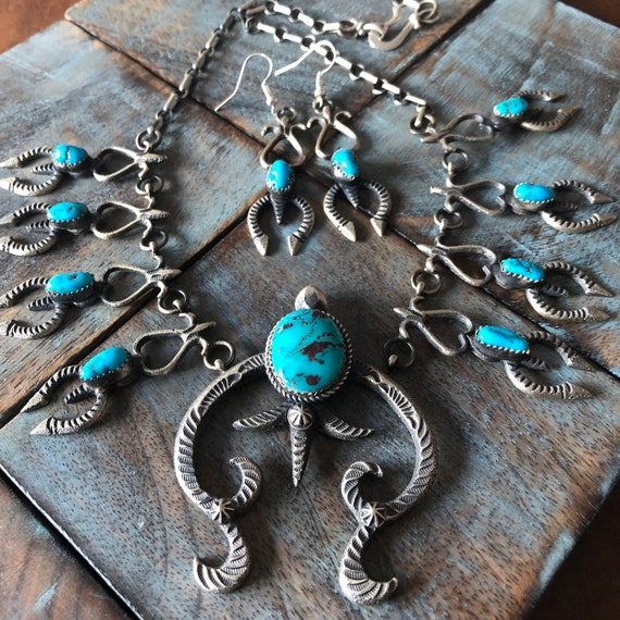 Turquoise and sterling squash blossom necklace and earring set