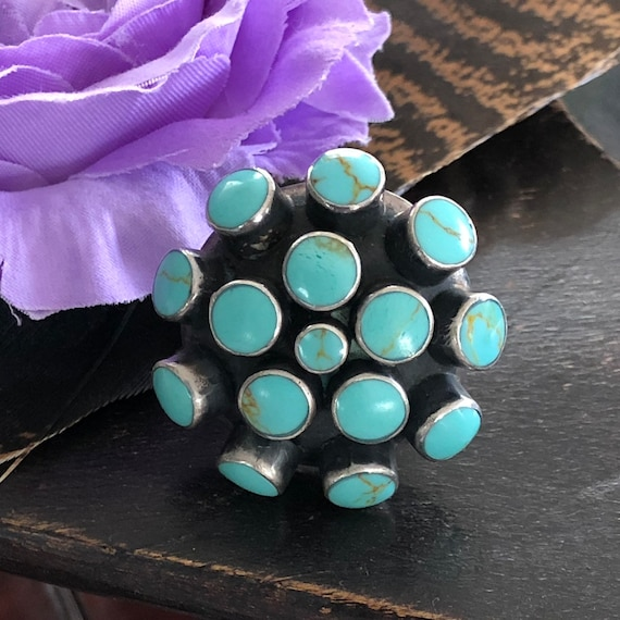 Vintage turquoise sterling cluster ring size 8