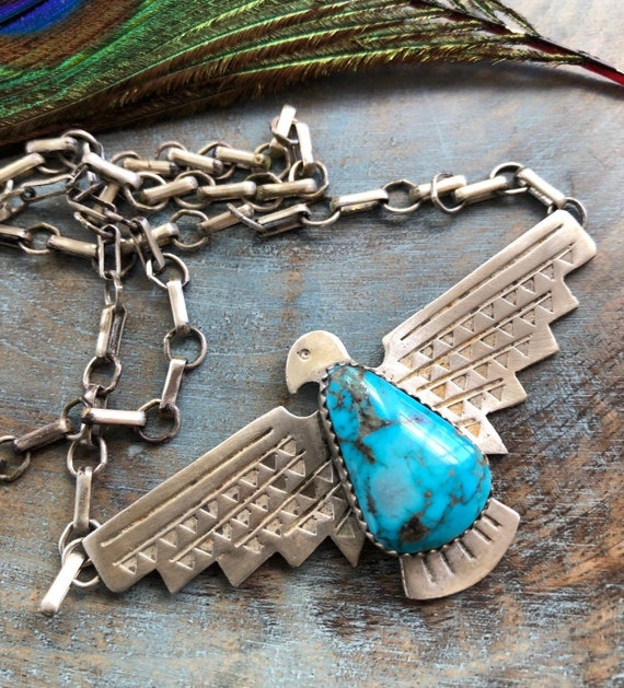 Sterling turquoise thunderbird necklace unisex