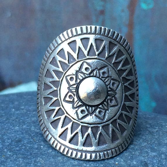 Lovely tribal sterling adjustable ring currently a size 6