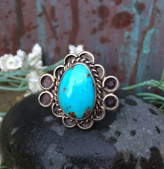 Beautiful classic Navajo Sterling and kingman turquoise ring size 6.75