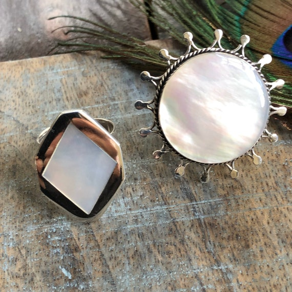 Handmade sterling mother of pearl sun ring adjustable