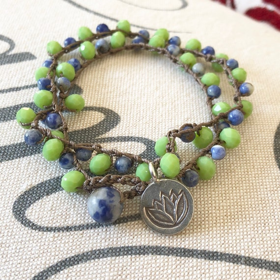 Crochet necklace apple green czech beads and natural denim lapis with sterling lotus charm