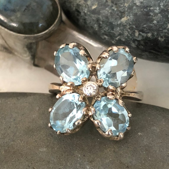 Vintage Sterling and blue topaz ,cz multi stone dress ring size 7