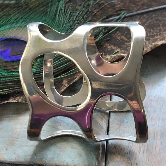 Sterling mid century modernist cuff